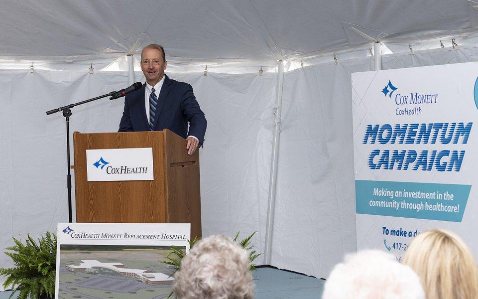 CoxHealth President & CEO Steve Edwards speaks at the groundbreaking ceremony