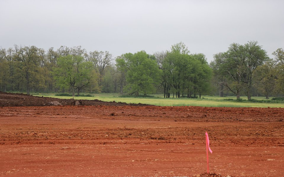 An image of the field after being leveled