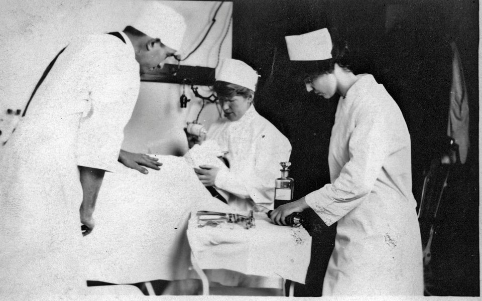 A historic photo showing early anesthesia practices at CoxHealth