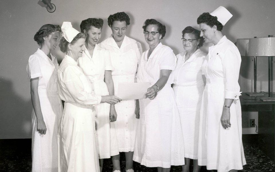 A historic photo of a group of CoxHealth nurses