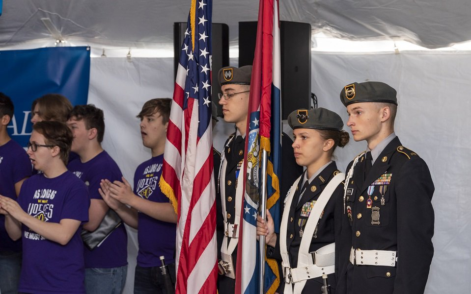 An image of the Monett High School Choir at the groundbreaking ceremony