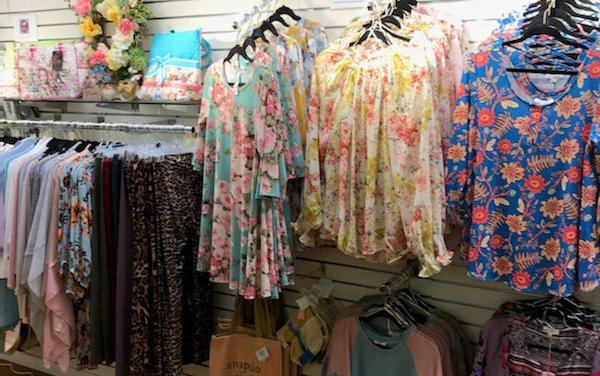 Clothing displays at the gift shop