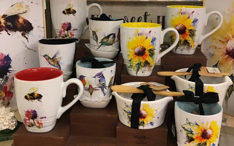 Mugs on display at the gift shop
