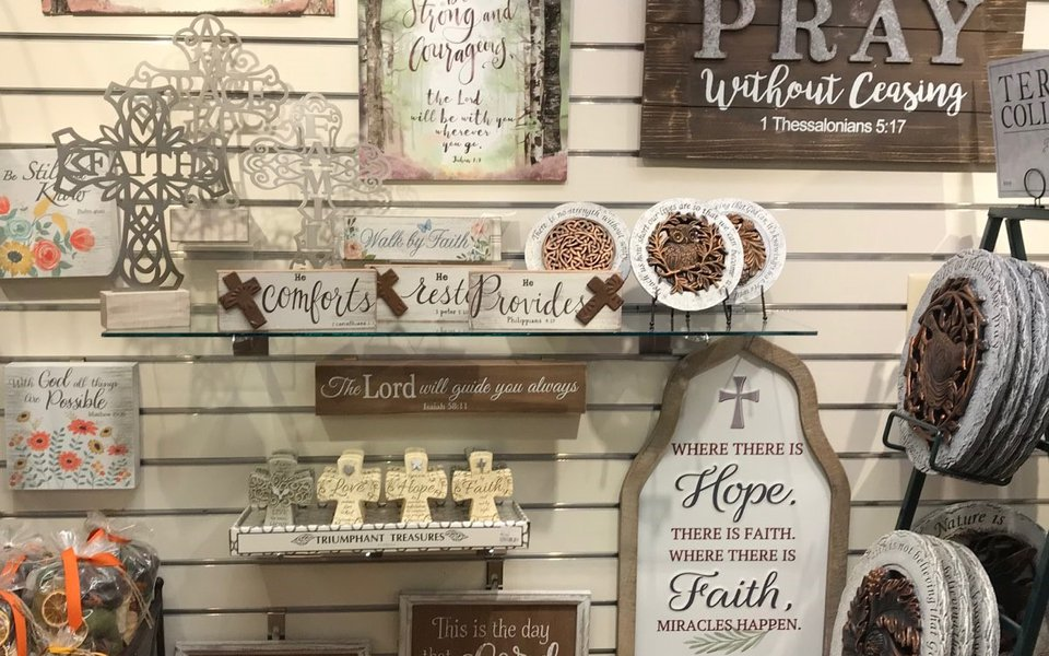 Inspirational signs on display at the gift shop