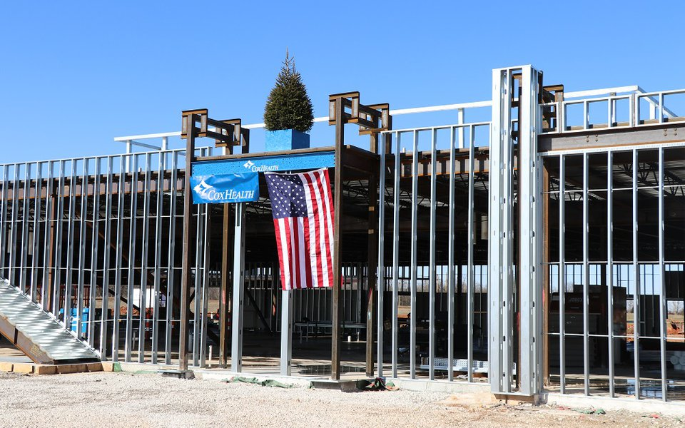 The last beam placed at the topping out ceremony