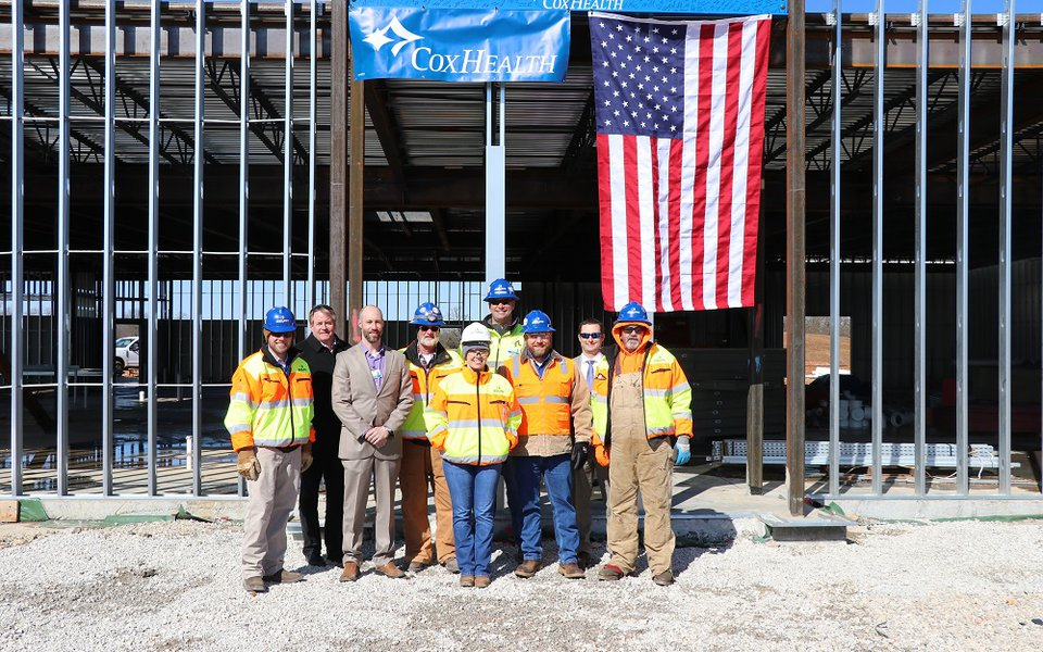 The workers crew during the topping out ceremony