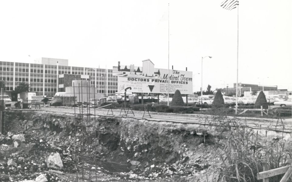 A historic photo showing the CoxHealth medical tower's construction