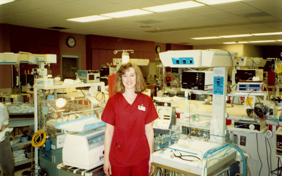 A historic photo of the newborn hospital area at Cox Medical Center South