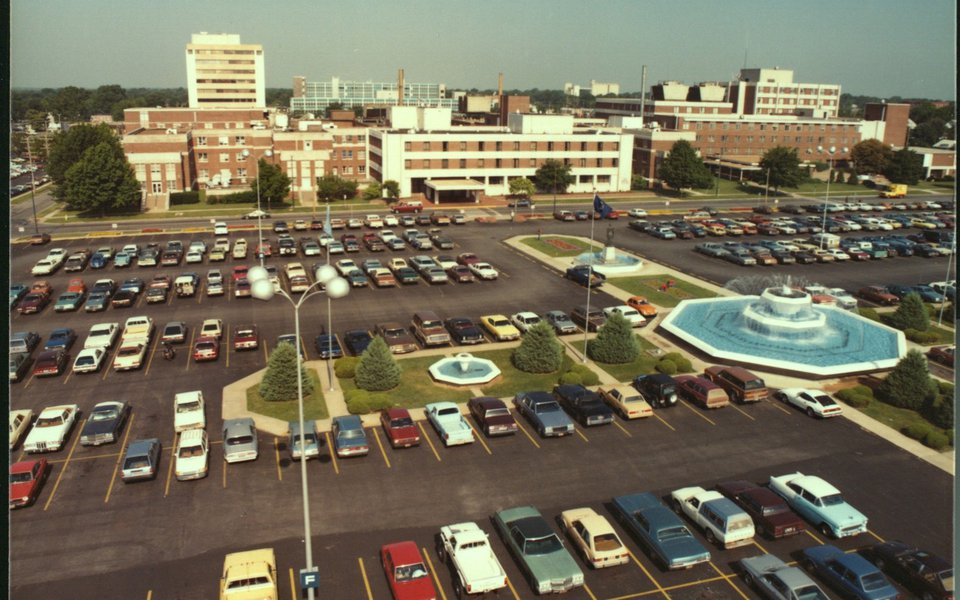 A historic aerial view of the CoxHealth campus